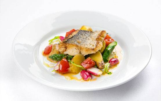 Hake with Asparagus, New Potatoes & Isle of Wight Tomatoes
